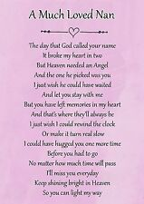 A Much Loved Nan Memorial Graveside Poem Card & Free Ground Stake F114