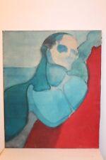 """Tableau """" portrait d' homme bleu  """" de Françoise Mauroy  H 73 cm x 60 cm"""