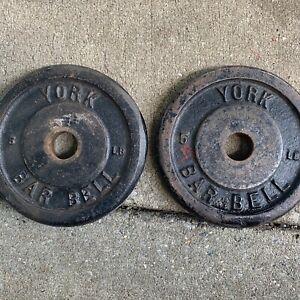 York 5 Lbs. Weight Plates Set Of 2 Black Vintage Rare