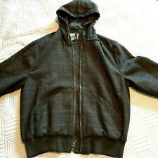 Wool Hoodie Dark Green Brown Johnston & Murphy Jacket chest 46in Large