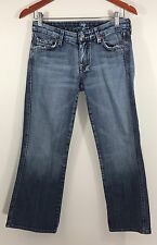 7 For All Mankind Medium Wash Distressed Crop Capri Jeans Sz 27