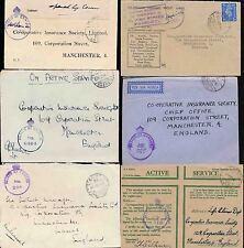 EGYPT WW2 MILITARY POST PAID + FRANKING ENVELOPES 1941-43 CENSORED...6 ITEMS