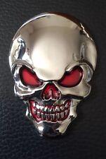 3D Cráneo Metal Emblema Adhesivo Calcomanía Para Coche Moto Guitarra Portátil 78mm X 55mm