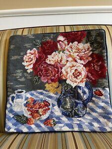 Vintage Needlepoint Pillow Cover 14 X 14 - Vase Of Flowers - Velvet Back EUC
