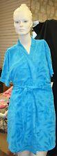 New Womens Size Large 14 16 Aqua Blue Plush House Bath Robe Swim Suit Cover Up
