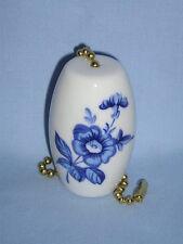 Delf Blue Flower Fan & Light Pull Porcelain Fired Decal 2 In long 6 In Chain