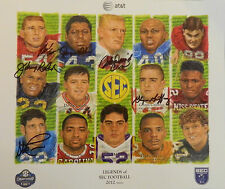 2012 Legends SEC Football Signed Poster Print John David Crow Johnny Roland Cran