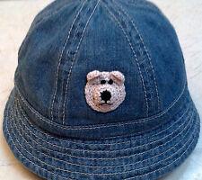 NEW BLUE DENIM HAT TEDDY BEAR 0 6 MONTHS BABY NEWBORN INFANT UNISEX BOYS GIRLS