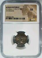 M. Tullius Roman Republic BC NGC XF Silver Denarius Marcus Quadriga Ancient