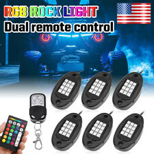 6pcs RGB Pods Neon LED Under Body Rock Light Dual Remote Music Car Truck Boat US