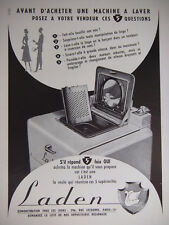 PUBLICITÉ DE PRESSE 1952 MACHINE A LAVER LADEN - ADVERTISING