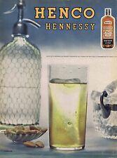 PUBLICITE ADVERTISING 114 1956 HENNESSY Henco pour boire à l'eau