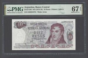 Argentina 10 Pesos ND(1973-76) P295 Uncirculated Grade 67