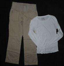 Old Navy Maternity long sleeve top shirt S & Liz Lange khakis chino pants Size 2