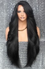 Extra Long Full Lace Front Wig Heat OK Feather Side Hair Piece WBPC Off Black 1B