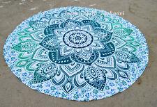"Beautiful Ombre 46"" Mandala Round Bohemian Beach Hippie Table Tapestry Yoga Mat"