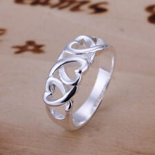 Unique & Elegant Pure 925 Sterling Silver Heart Shape Ring Size: 8 #008-H