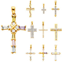 Details about  /14K Yellow and Rose Gold Baby Jesus Small Oval Religious Pendant with CZ Stones