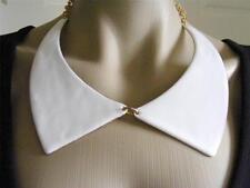 $38 Spring Street Bib Collar White Enamel Necklace Statement Choker Goldtone