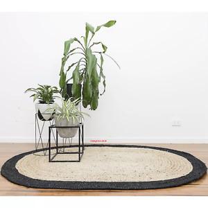 Tapis 100% Jute Naturel Réversible Handmade Ovale Zone Moderne Vivant