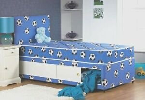2FT6 SMALL SINGLE BLUE FOOTBALL DIVAN BED WITH STORAGE SINGLE BED MATTRESS