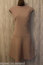 Karen Millen Tailored Fitted Beige Panel Flare Skater Party Evening Dress 14 42