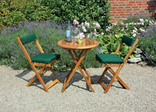 NEU Balkonmöbel Set 1 Tisch mit 2 Stühlen und Kissen in grün Balkonset aus Holz