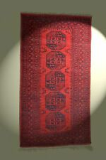 Afghan Tapis 221x119 cm rouge LÄUFER 100% laine Galerie rug Tapis Tapis Carpet