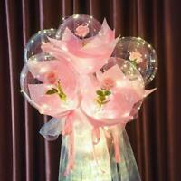 LED Light Balloon Pink Rose Flower Bouquet Birthday Anniversary Wedding Gift