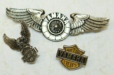 Vintage YAMAHA Biker Motorcycle MC Leather Vest Jacket Hat Badge Pins