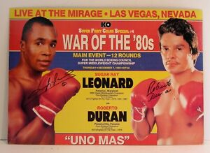 "1989 SUGAR RAY LEONARD / ROBERTO DURAN SIGNED ""UNO MASS"" BOXING / FIGHT POSTER"