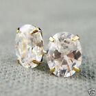 14k Gold plated opal shape Diamond simulant crystals elegant earrings