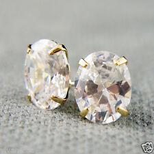 14k Gold plated opal shape Diamond simulant crystals elegant earrings