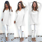 New Womens V Neck Knit Cardigan Sweater Blouse Jumper Dress Top Pullover Outwear
