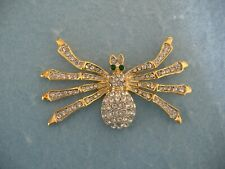 Pin With Clear Crystals Gold Toned Spider Brooch Or