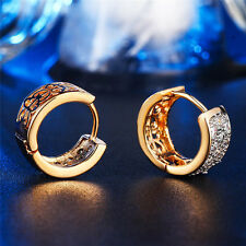 Gold Plated Small Round Crystal Hinged Huggie Hoop Earrings Women