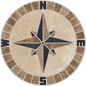 """18"""" Tile Mosaic Medallion Mariners Compass Travertine Slate Backsplash Flooring"""