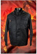 Doom Slayer Doomguy Hooded Jacket Front Zipper Wax Coated Twill Unisex Black