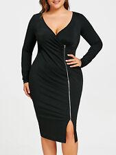 Ladies Plus Size Zip Front Sheath Side Slit Dress Slim Long Sleeve Dress XL-5XL