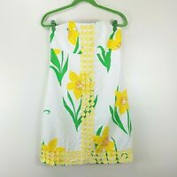 Lilly Pulitzer Strapless Size 6 Dress Yellow White Floral 93126 Cotton Summer