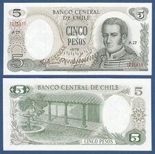 CHILE 5 Pesos 1975  UNC  P.149 a