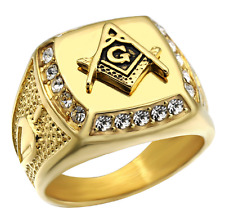 Men Stainless Steel Gold Mason Freemason Blcak Master Masonic Jewelry Ring