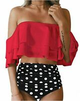Tempt Me Women Two Piece Swimsuit High Waisted Ruffled, C-red, Size Large Al5P