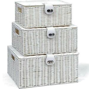 SET OF 3 Storage Baskets Resin Woven Hamper Box Lid & Lock Stackable Boxes White