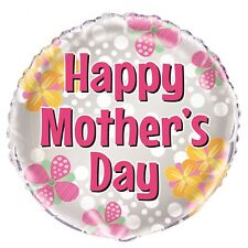 """Happy Mother's Day Decoration Pink Flower Helium Air Foil Balloon 18"""" Mothers"""