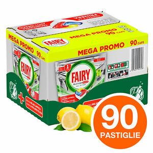 90 Pastiglie al Limone Fairy Platinum Plus Per Lavastoviglie Mega Pack Capsule