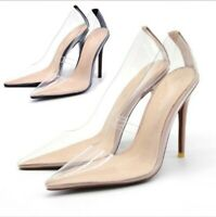 Womens Stiletto High Heel PVC Slip On Clear Shoes Pointy Toe Party Fashion Shoes