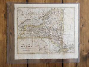 Vintage Map -STATE OF NEW YORK- c1830s Folding Map Adirondacks/Long Island
