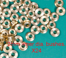24 turned brass OO/HO 2mm loco axle bushes. 4.8mm wide and 2mm inner diameter.