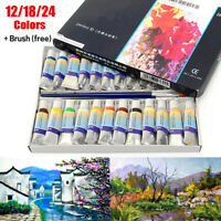 Professional 12/18/24 Colors 5ml Paint Tube Watercolor Draw Painting + Brush Set